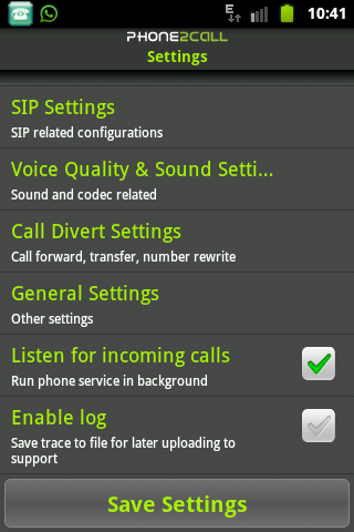 8.Click en SIP settings